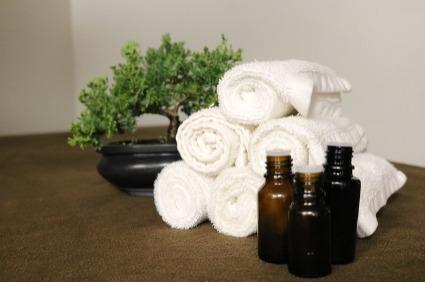 Image shows aromatherapy massage items.